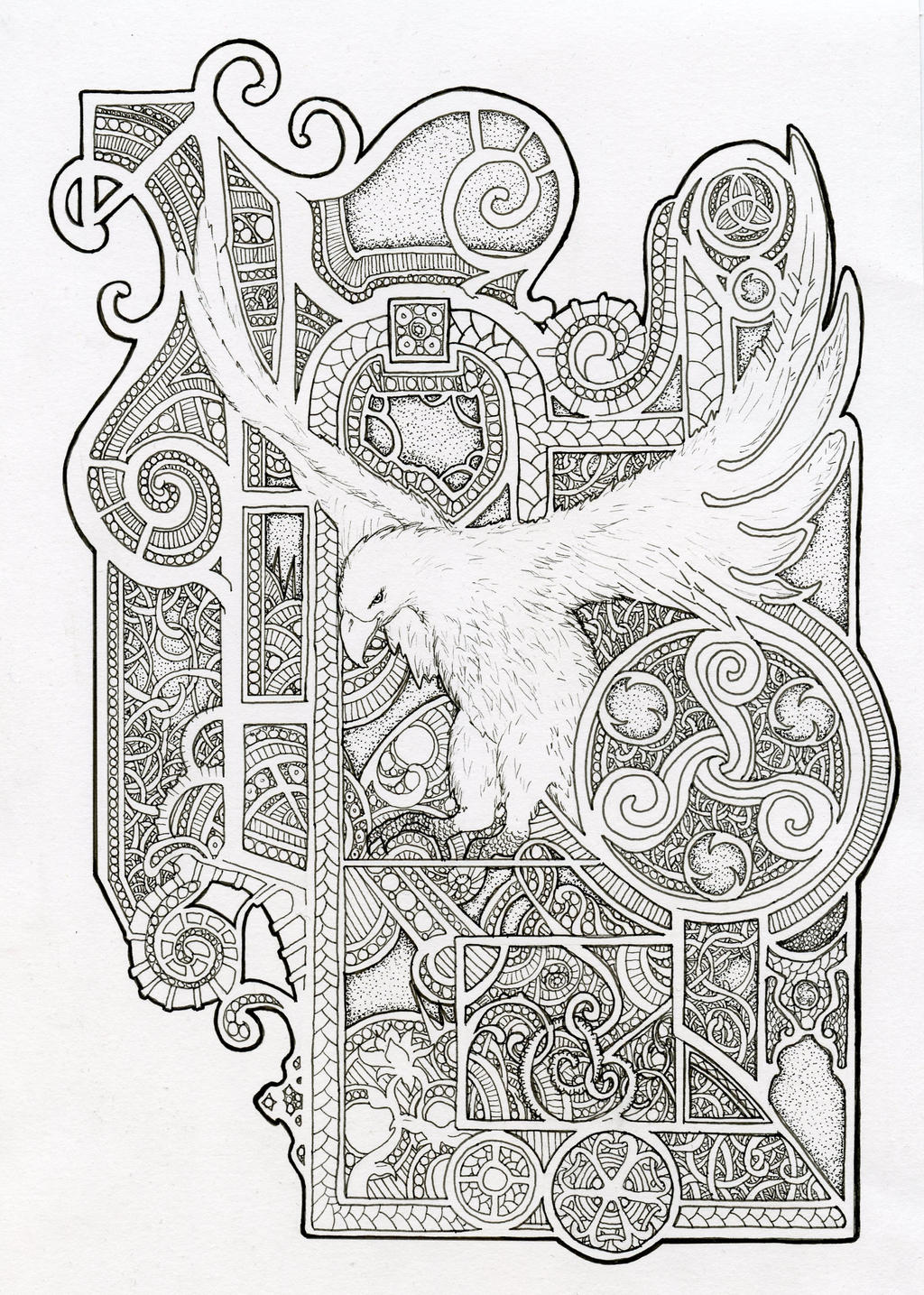 Bird design inspired by book of kells by scream stay for Book of kells coloring pages