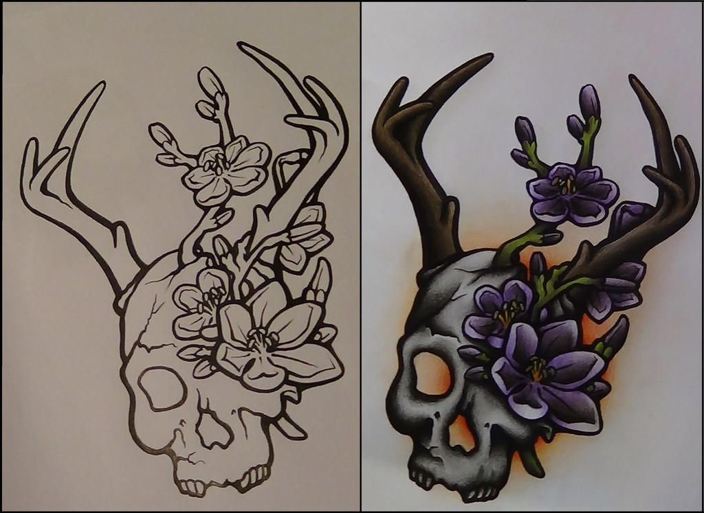 skullsomethingish neotraditional tattoo design by