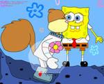 Sandy kissing SpongeBob