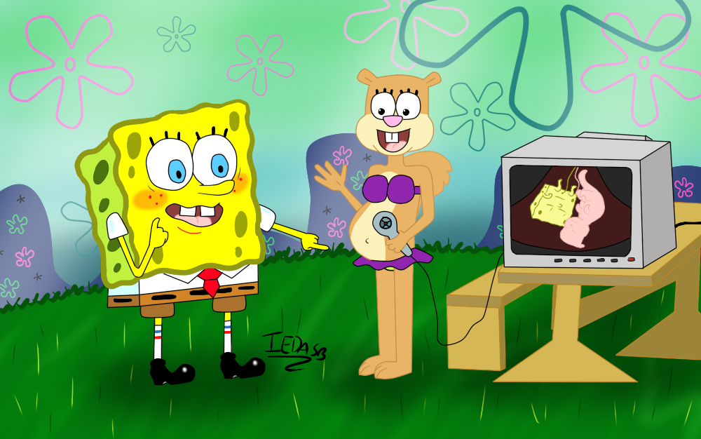 spongebob and sandy look at the twins by iedasb on