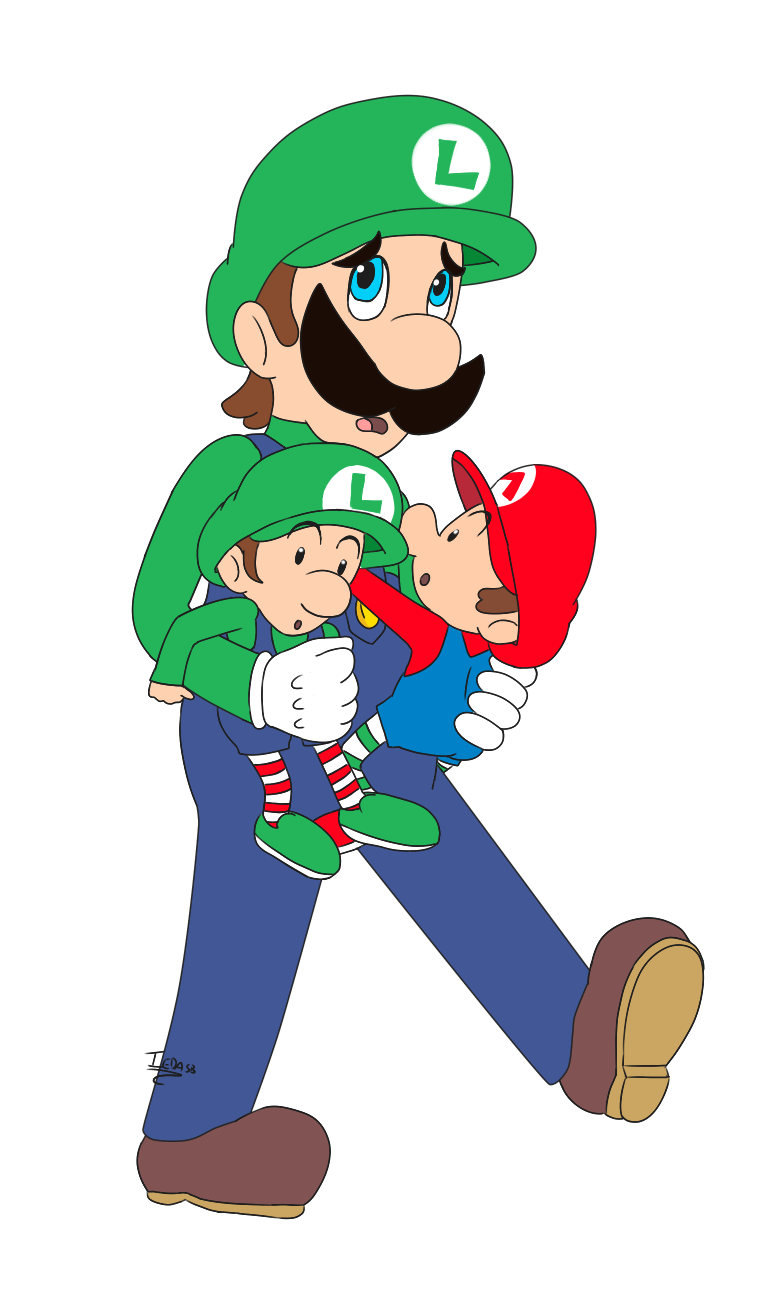 luigi running with baby luigi and baby mario 1 by iedasb