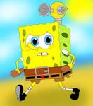 SpongeBob with F.L.U.D.D.