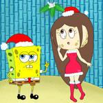 SpongeBob and Eda under the mistletoe by iedasb
