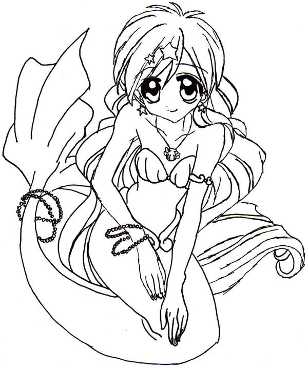 Mermaid melody coloring pages hanon