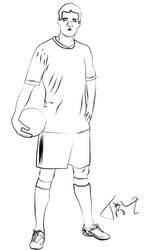 Soccer Player Line Art