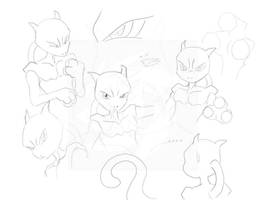 Mewtwo doodle by EvilKitty3