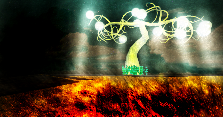 Glow fruit tree over a volcanoe