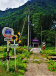 Shinto shrine beyond a railway crossing 1