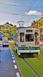 Tram and Castle in Kumamoto