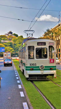Tram and Castle in Kumamoto
