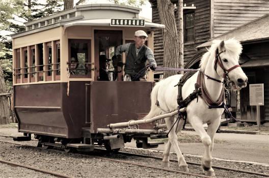 A horse drawn tram