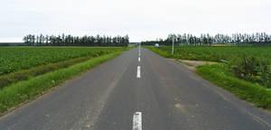 Long and straight road in Hokkaido