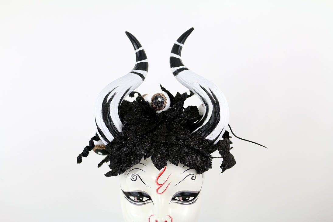 Tim Burton inspired Horned Headdress by Vampire--Kitten