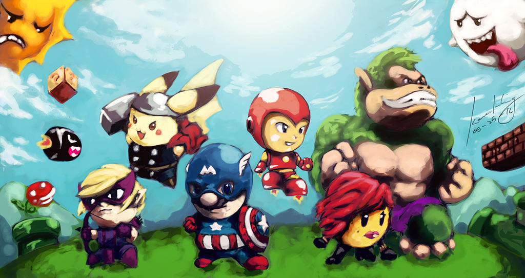 Vintage Videogame Characters x Avengers by Kanukling