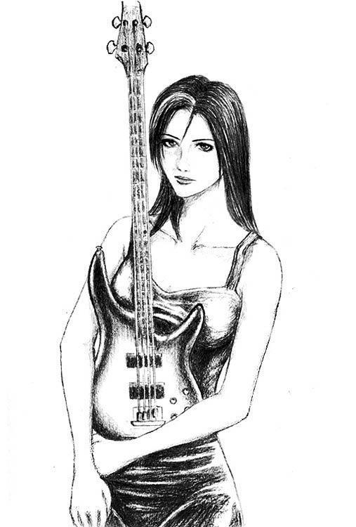 Bass Guitar Girl By Kangwen