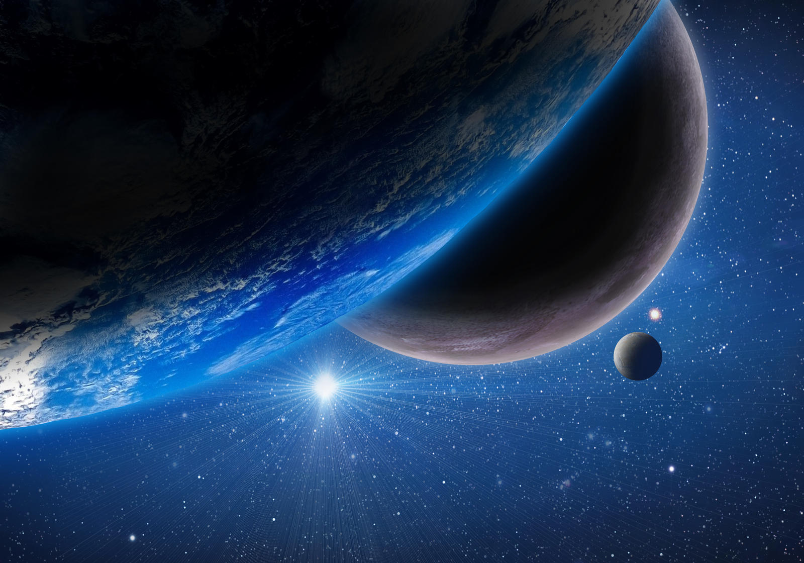 Earth with two moons by Johndoop on deviantART