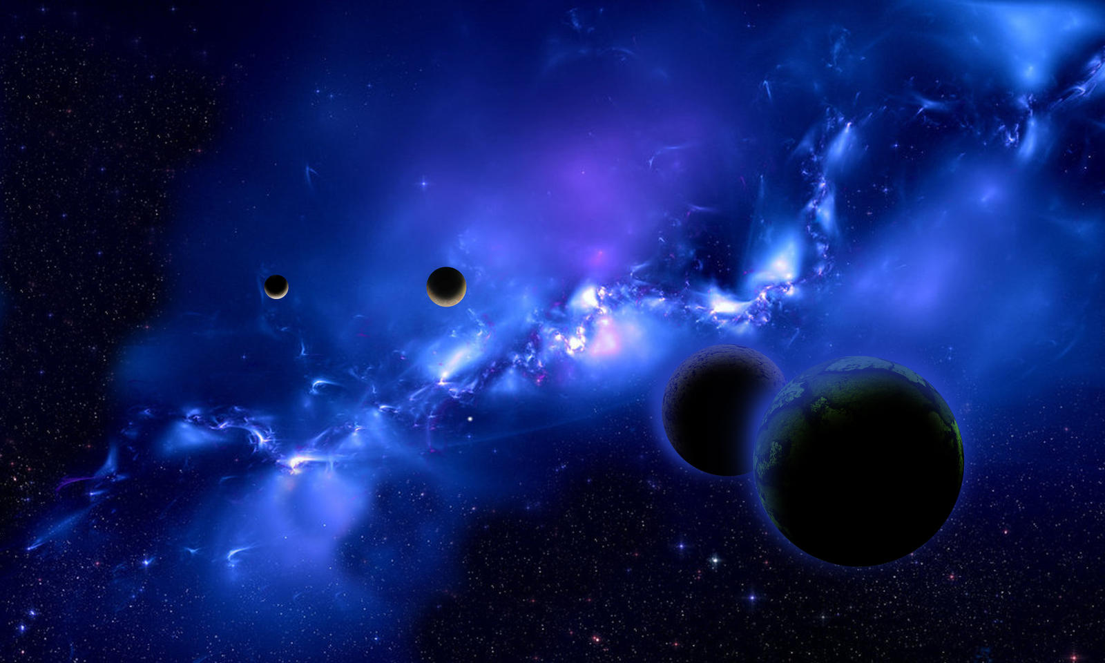 planets in a blue nebula by Johndoop on DeviantArt