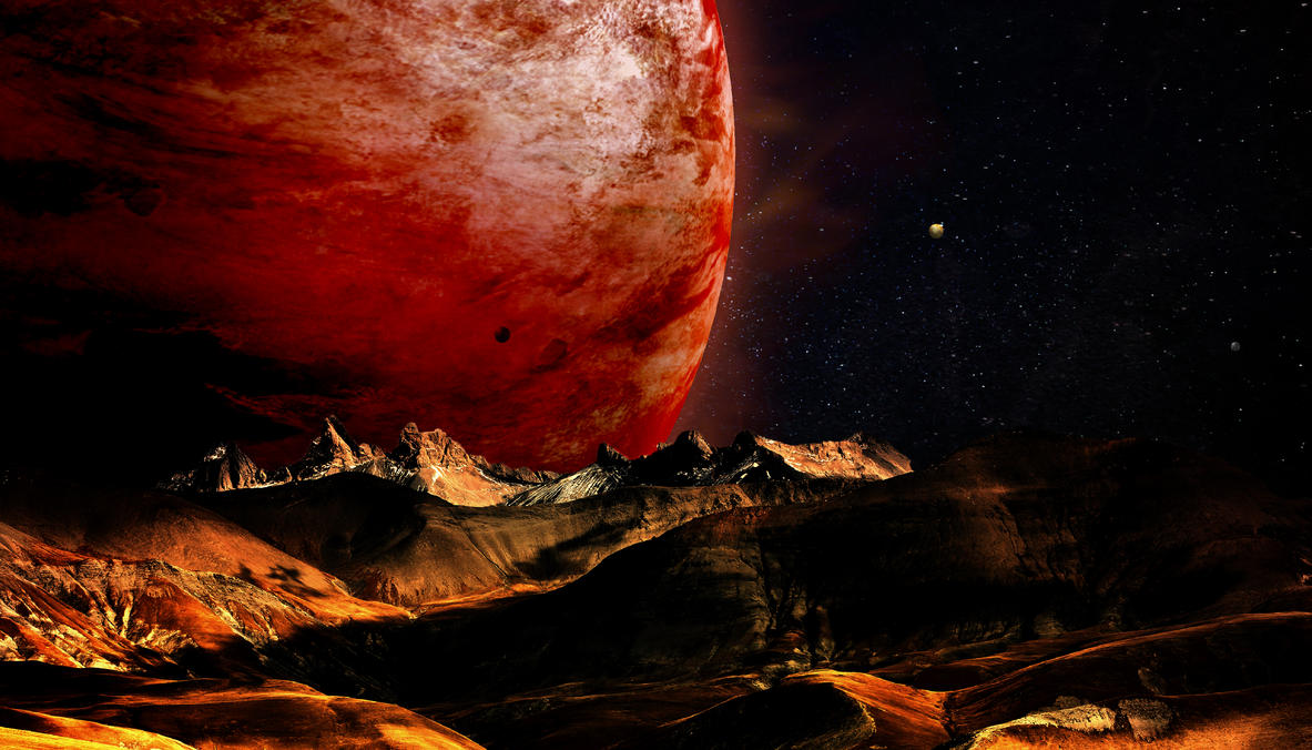 The giant and its moons !!!! by Johndoop