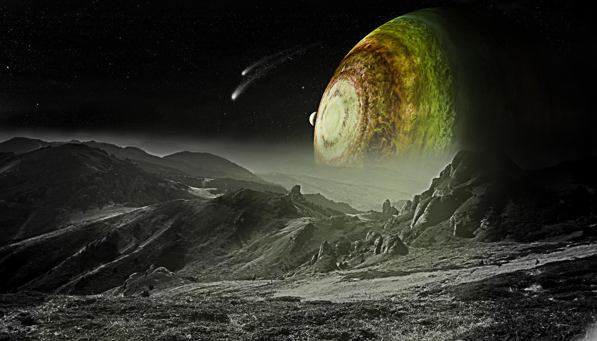 large planet with moons by Johndoop