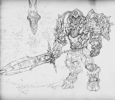 Wow Deathknight pencil WiP