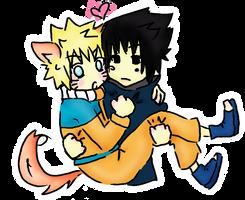 sasuke carries naruto by Isuk