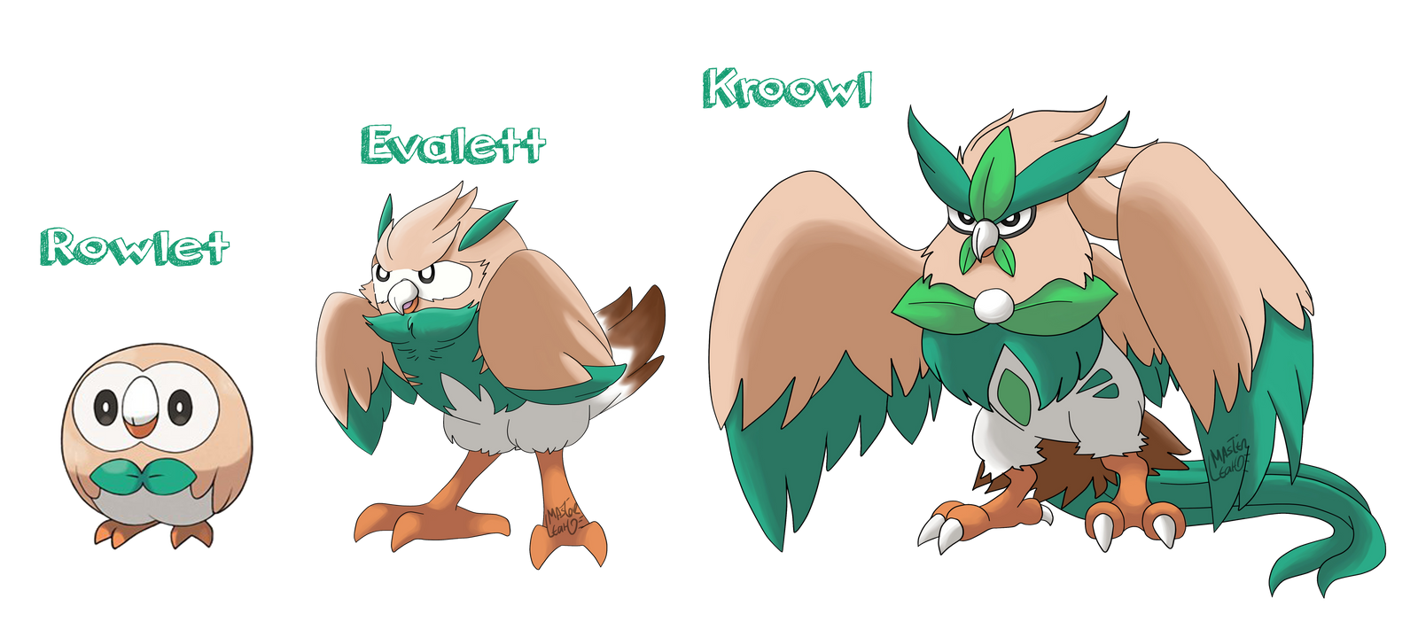 Rowlet Evolutions By Masterleahart On Deviantart