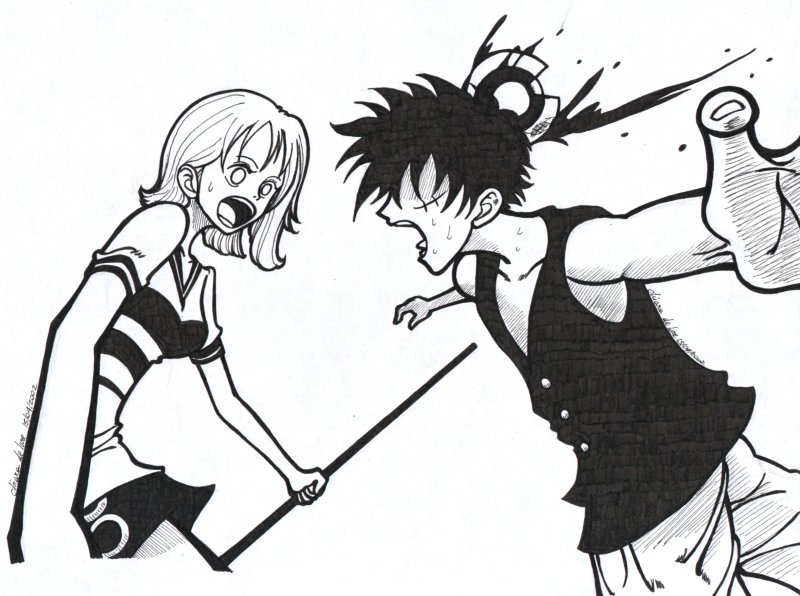 One Piece Lineart : One piece rufy and nami by shainareth on deviantart