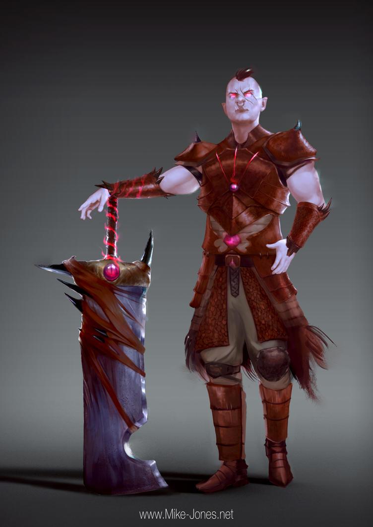 Half Orc Dragon Slayer by michael-jones