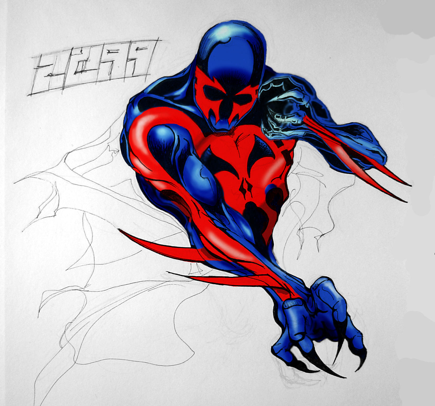 how to draw 2099 spider man