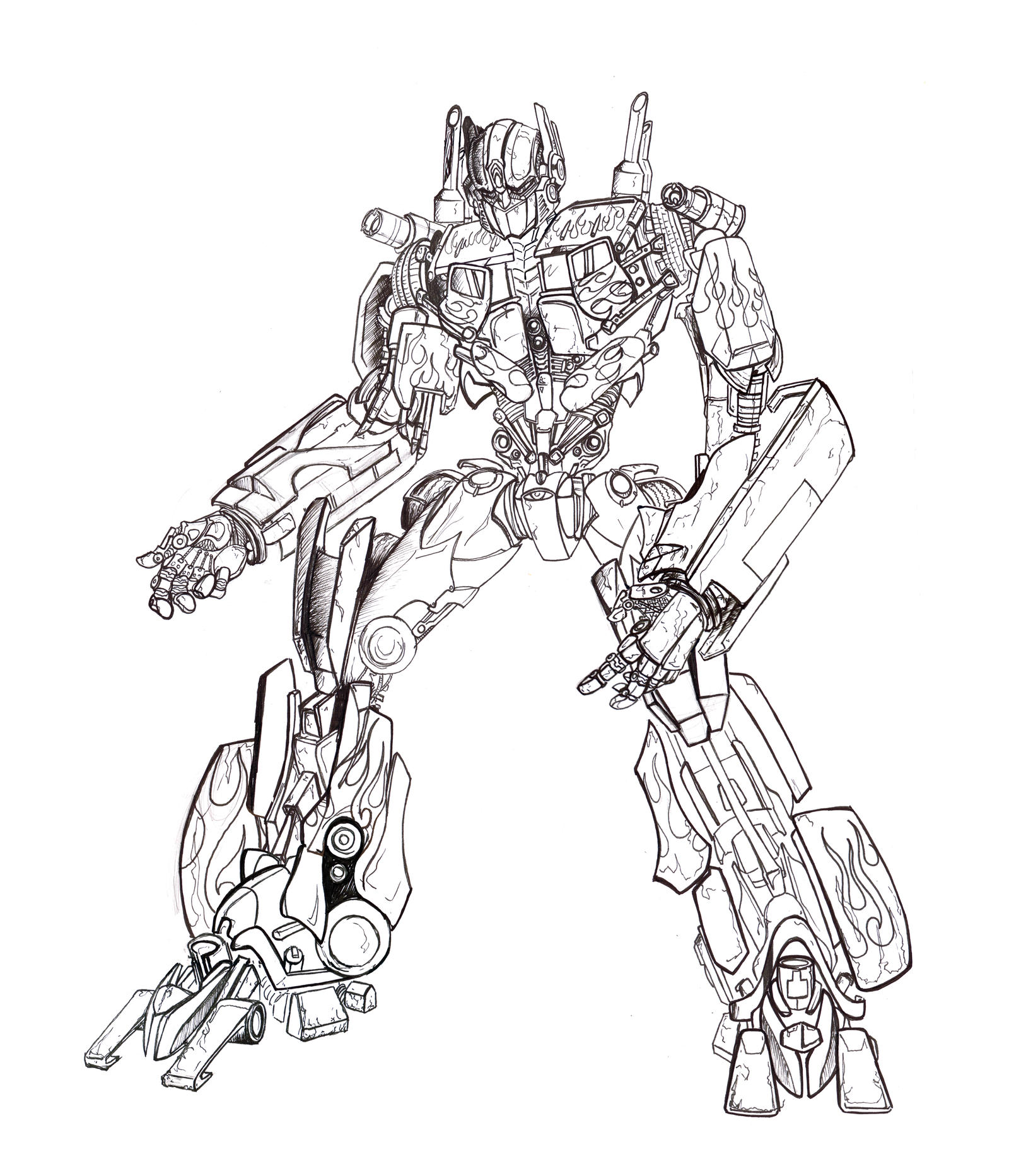 Optimus Prime Coloring Page Cool