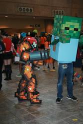 Samus vs. Minecraft Zombie by ChozoBoy