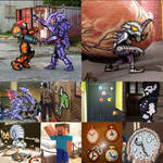 Pixel Art and Costumes collage