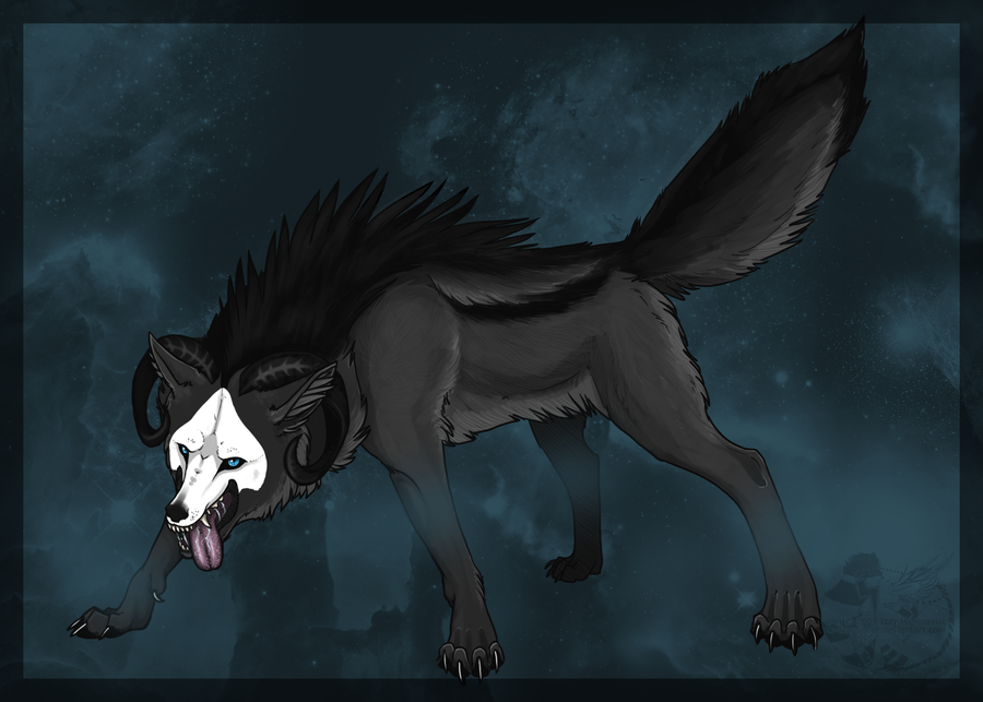 Black wolf with blue eyes drawing - photo#16