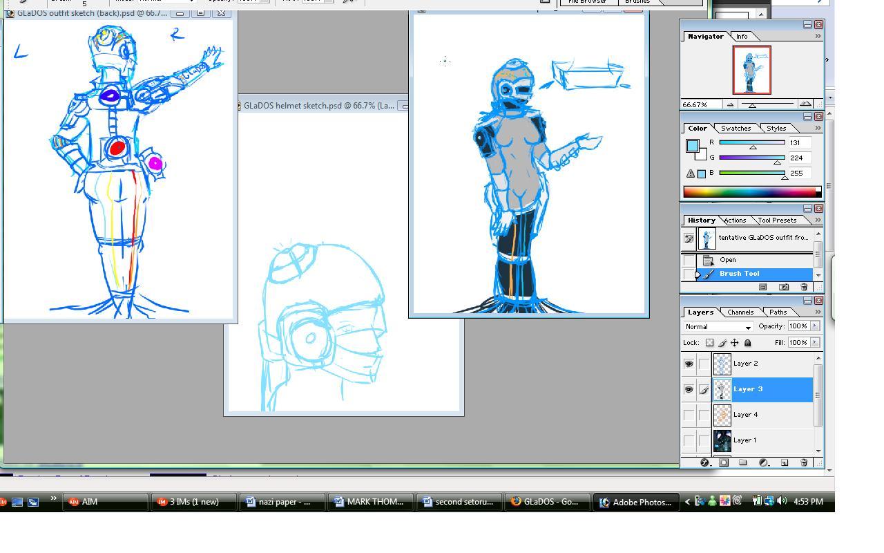 Tentative GLaDOS sketches. by Dragonblade-Dreams