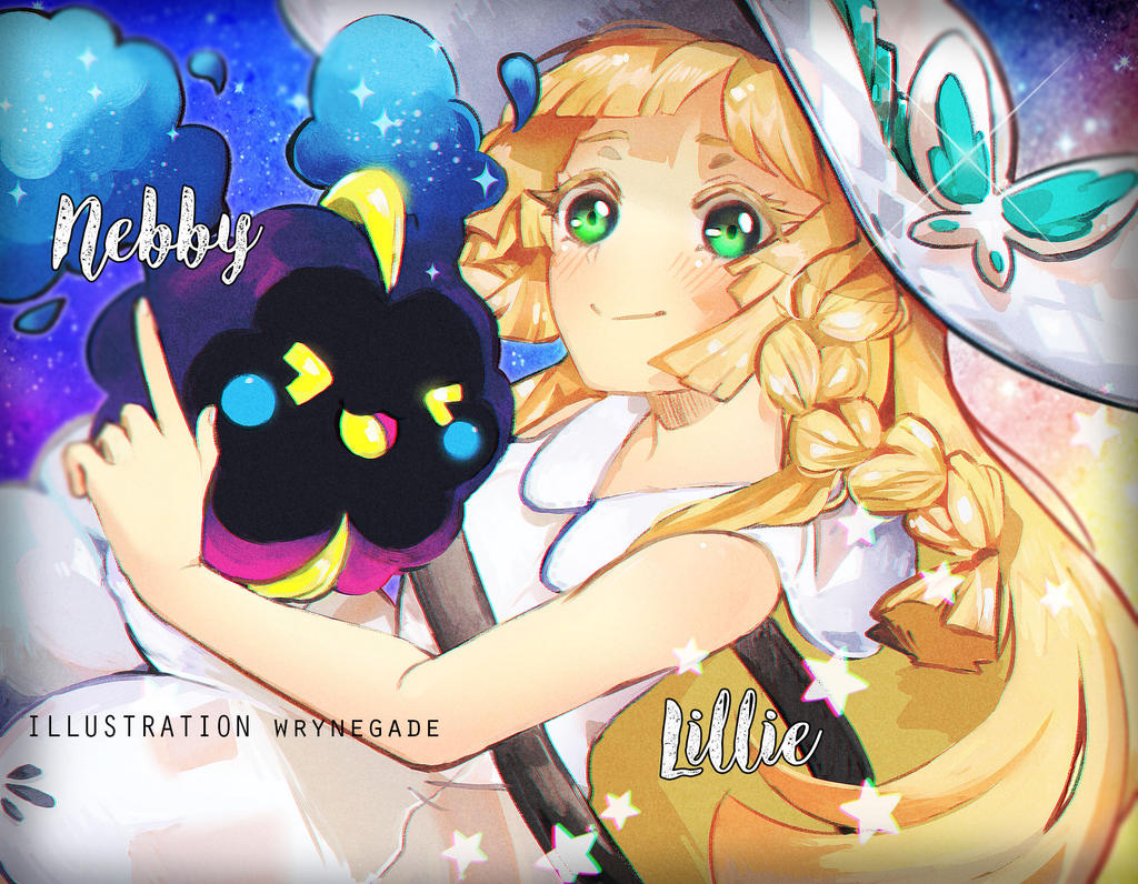 Pokemon Sun ~ Moon : Lillie and Cosmog by wryn-negade