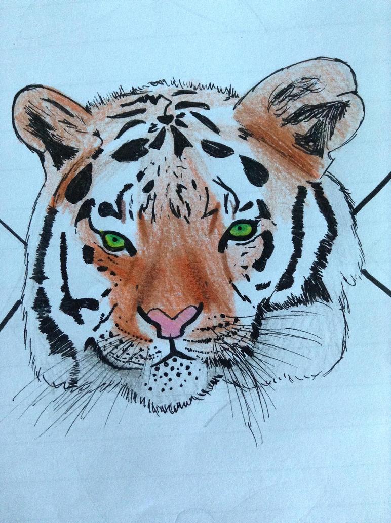 Tiger head on a 'flag' by TheGreenNightingale