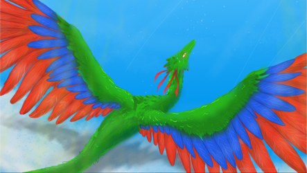 Dragon in flight (close up) by Eradrom