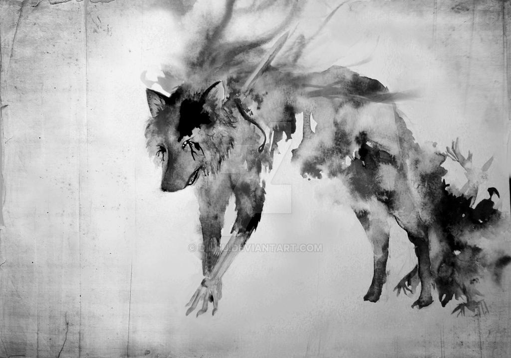 Loup cauchemardesque / nightmarish wolf by Dilhu