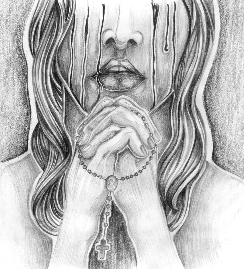 Praying Hands With Rosary Drawing Pencil Drawings Praying Hands