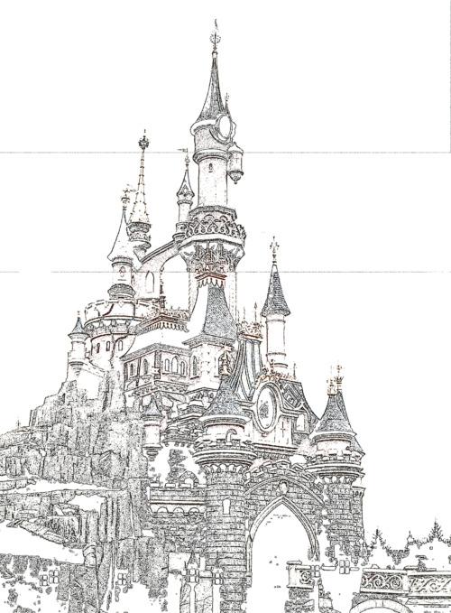 Le chateau de disneyland paris by noveryss on deviantart - Coloriage chateau disney ...
