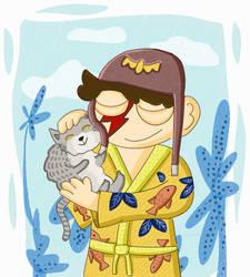 Boy and Cat by SlantedFish