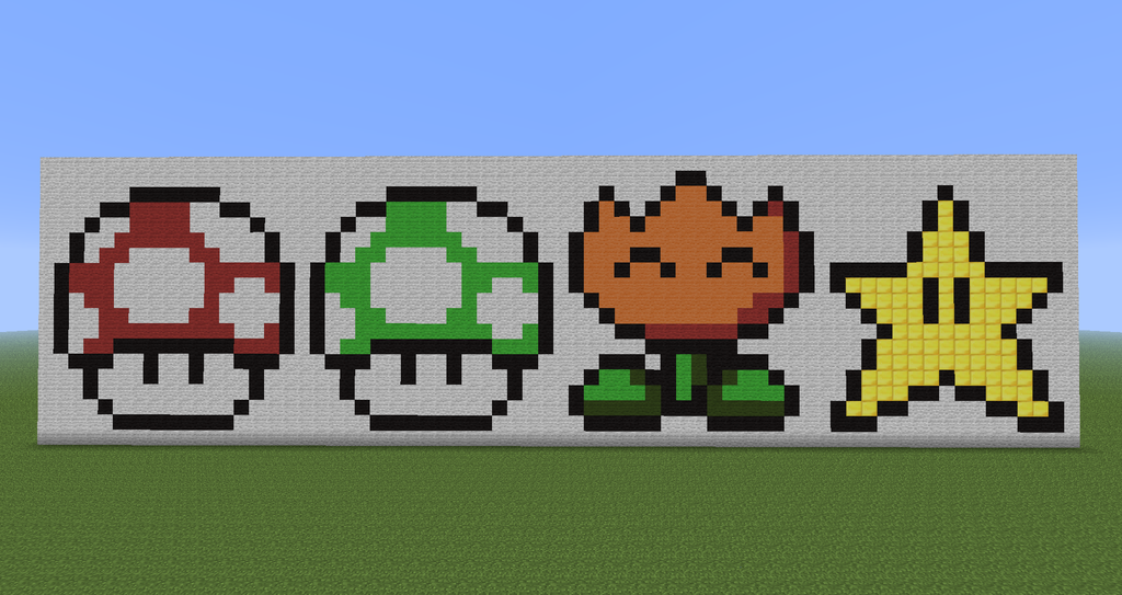 Minecraft Pixel Art : Super Mario Power Ups By Diablofr91 ...