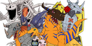 colored digimon drawing