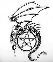 Dragon and Pentagram by AmberHallows
