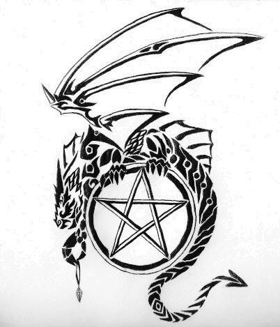 Dragon and Pentagram - shoulder tattoo
