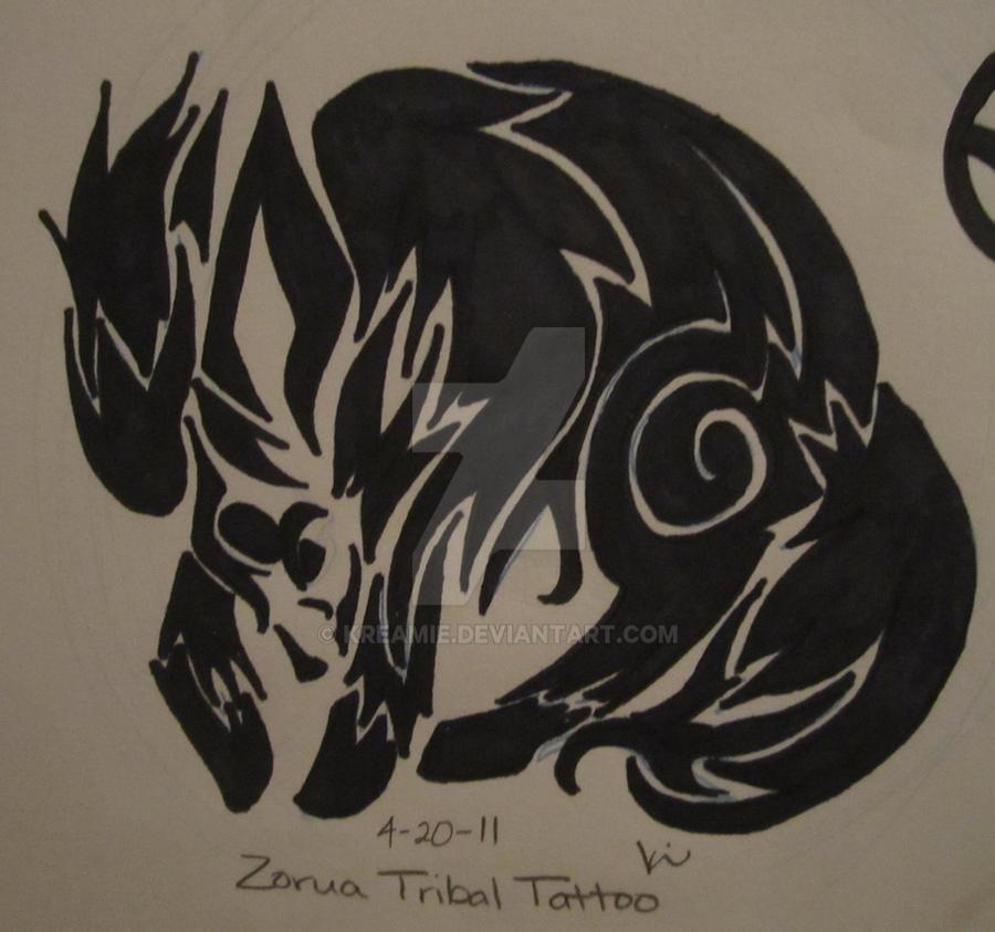 Zorua tribal tattoo by kreamie on deviantart for Tribal tattoo shops near me