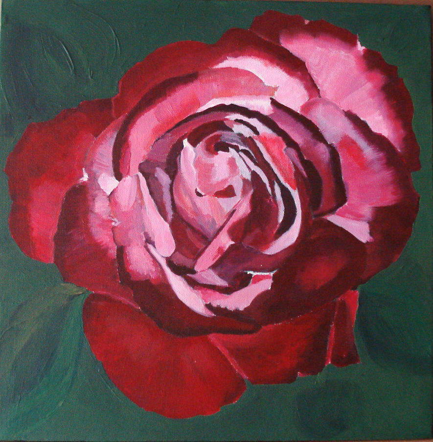 Red rose painting by aussiesheila on deviantart for Easy way to paint a rose