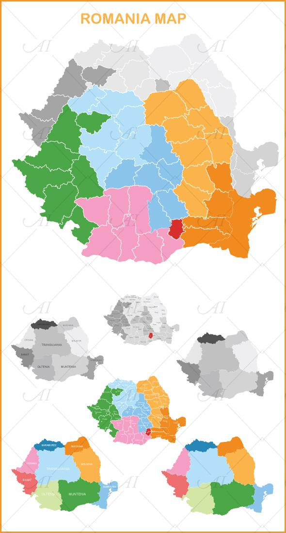 Romania Map - vector by Alexandra-Ipate