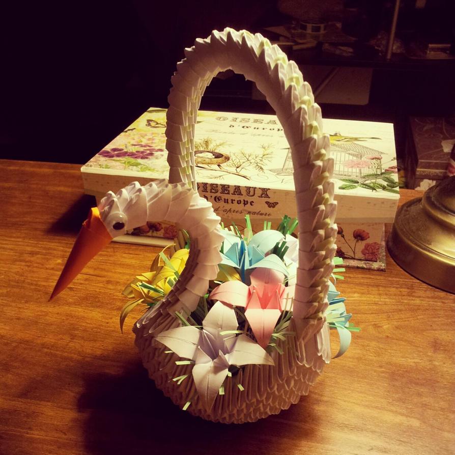 3d Origami Flower Basket Swan By Chingu99 On Deviantart