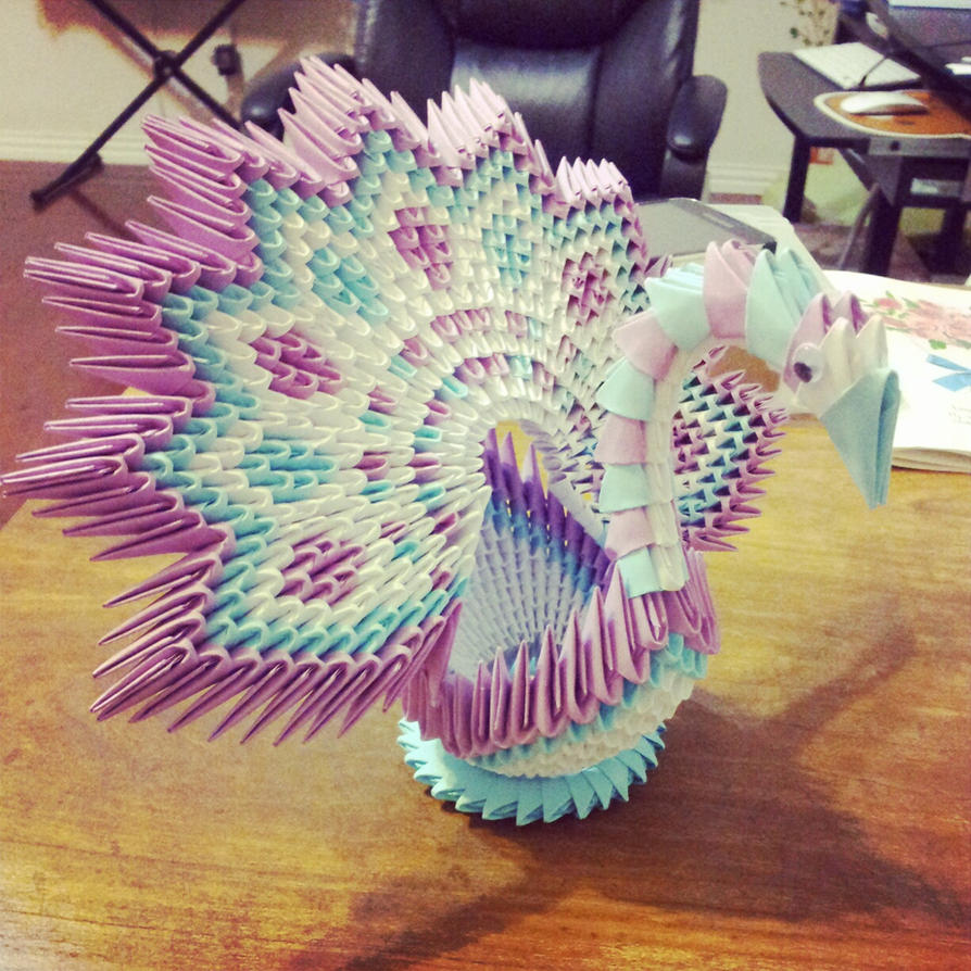 3D Origami Flower Shape Peacock By Chingu99